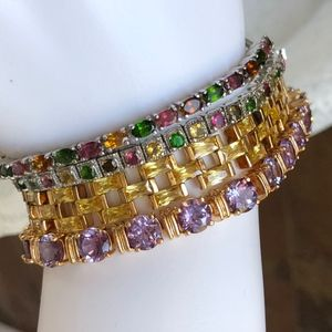 Sterling Square Multi Tourmaline Tennis Bracelet